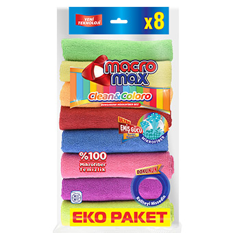CLEAN & COLORO COLORFUL MICROFIBERED CLEANING RAG X8